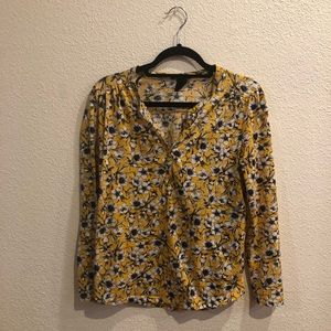 H&M Yellow Floral Long Sleeve Blouse
